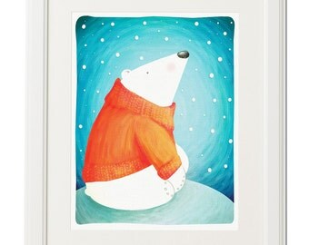 Cute bear-Winter art-Nursery-Illustration-Digital drawing-Art print-Wall decor-Instant download-Printable file-Original art