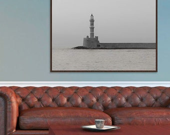 Lighthouse pier/Stone lighthouse/Black and White Lighthouse/Chania Greece Harbour Photo/Venetian Harbour/Gray Harbour Photo/Lighthouse Fog