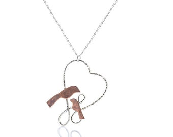 Mother and Daughter Lovebirds Pendant