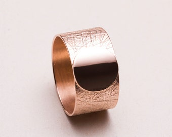 Wide statement Ring, Sterling Silver Ring, Wide Band Gold Ring, Textured Ring, Modern Jewelry, Gold Plated Ring