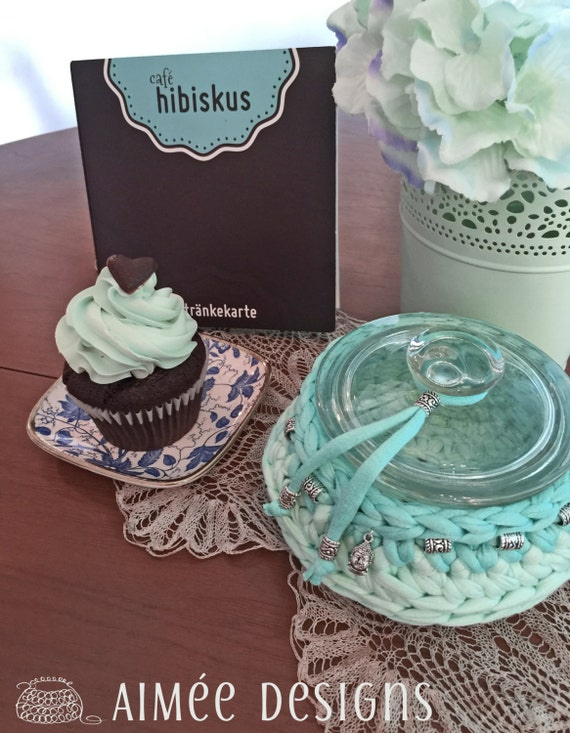 Buddha Breeze - light turquoise and mint crochet bowl with silver beads and Buddha charm -  basket -  T-Shirt yarn - glass jar - Yoga - gift