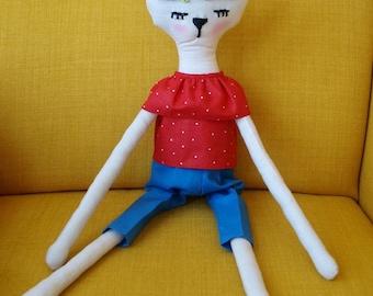 Handmade superstylish foxy ragdoll, Cloth Doll