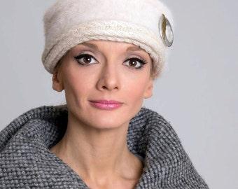 Winter hat/ Angora hat/ Women's warm hat/ White hat