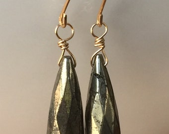 Pyrite earrings. Fools gold earrings. 14k gold filled. Free shipping within USA.