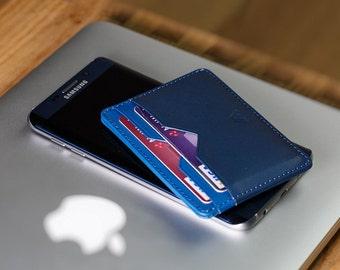 Navy Blue Card Holder - Super Slim Leather Card Holder / Card Wallet - A-SLIM - Yaiba - Credit Card Wallet - Cardholder - Minimalist Wallet