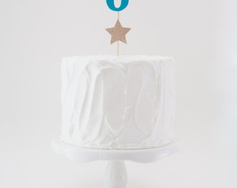Numbered Cake Topper with Star Accent