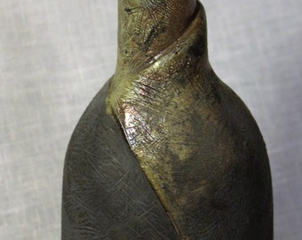 Handmade raku fired ceramic flame vase