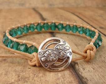 Emerald Green Leather Wrap Bracelet