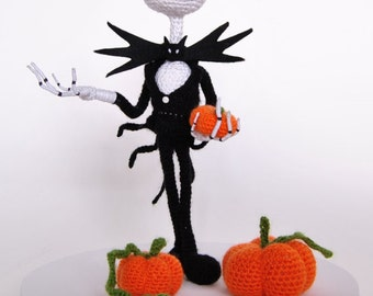 """Jack, made to order amigurumi , 33 cm high  , inspired from Jack Skellington in """"The Nightmare Before Christmas"""" including the small pumpkin"""