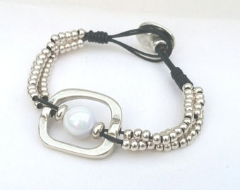 Leather Bracelet with Pearl and beads, bracelet female zamak, Bracelet for women