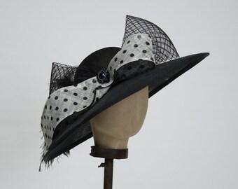 Black Sinamay Hat, Black Derby Hat, Kentucky Derby Hat, Race Day Hat, Black and White Oversized Hat, Black Straw Hat