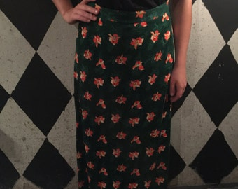 70's FLORAL skirt, Maxi Skirt, Boho Maxi, Hippie Maxi Skirt, Vintage Skirt, Size Large