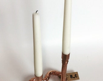 Love Heart Candlestick Holder. Copper Pipe, Wedding, Anniversary, Valentines Gift, Home, Decor, Rose Gold, Unique, Bedroom,