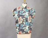 early 80s Hawaiian shirt . 1980s vintage Hawaiian print blouse . novelty print fish shirt with mandarin collar, cotton top, angelfish medium