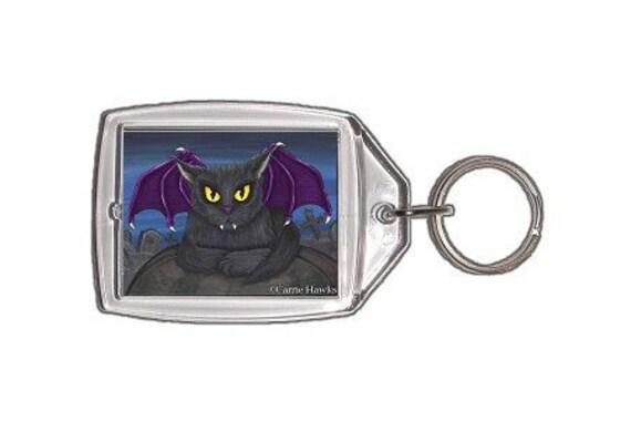 Vampire Cat Keychain Vlad Gothic Fantasy Cat Art Keychain Keyring Gift For Cat Lovers