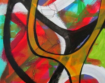 Original Art Abstract Acrylic Painting Red Orange White Bold Black Lines Unframed