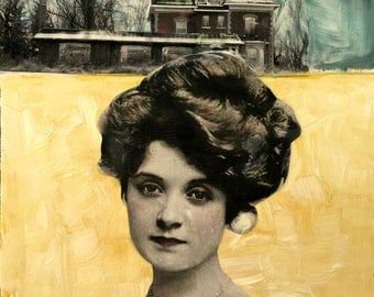 Lovely vintage woman with gorgeous hisorical building painting