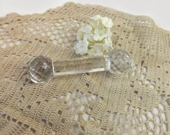 Crystal Knife Rest, Victorian Formal Dining Tableware, Glass Dumbbell Paperweight
