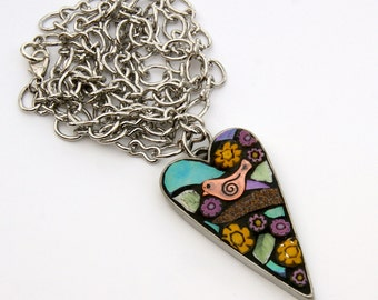 Mosaic Heart Pendant, bird and yellow flowers.