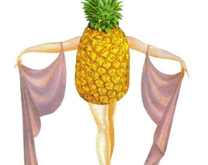 Tropical Pineapple Art for Kitchen, Fun Fruity Artwork, Original Collage