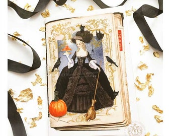 Halloween witch card, Marie Antoinette with pumpkin macarons, crows and black cats, Gothic holiday card