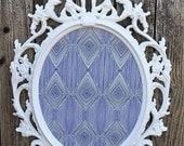 Large Ornate Framed Magnetic Inspiration Board, Magnet Fabric Board, White Navy Blue