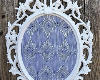 Large Ornate Framed Magnetic Inspiration Board, Magnet Fabric Board, White Navy Blue