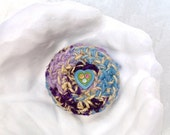 Keepsake Box with Heart - Sweetheart Trinket Basket with Lid - Unique Handmade Lavender Blue Yellow Silk Tapestry Jewelry Holder Gift STB020