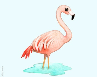 Flamingo art print, Watercolor painting, Watercolor illustration, Watercolor flamingo, Flamingo painting