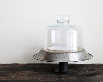 Repurposed Vintage Pie Pan and Glass Cloche Display Stand