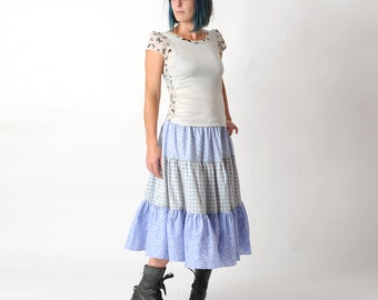 Light blue tiered skirt, Long skirt in vintage floral and checkered cotton fabrics, Blue boho skirt, Size UK 12-16