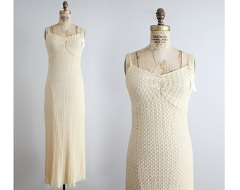 90s crochet dress / slinky maxi dress / fitted stretch dress