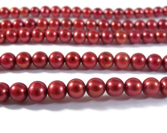 Cranberry Pearl Beads, Potato Pearls,  6.5x6mm Round Genuine Freshwater Pearls, 16 Inch Strand (P-P1)