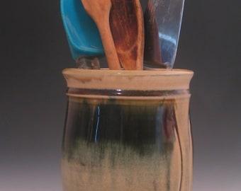 Handmade Pottery Vessel Kitchen Utensil Holder Wine Chiller in Porcelain
