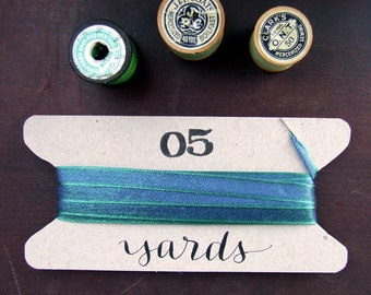 Blue Green Ribbon, 5 yards gift packaging ribbon wrapped on a hand-lettered cardboard spool, Iridescent, Gift Wrapping Embellishment