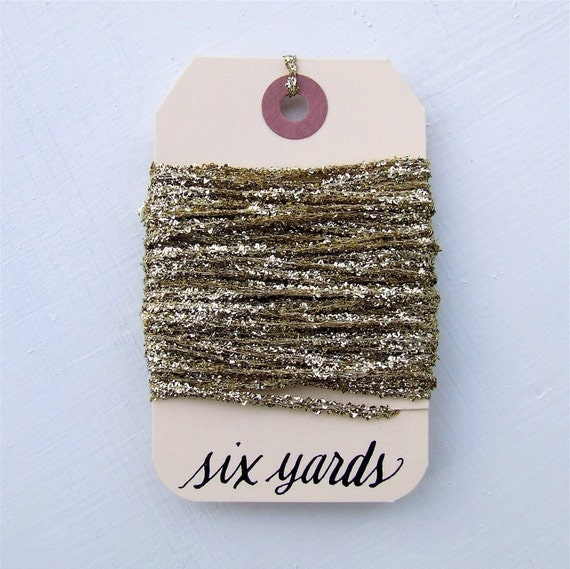 Gilded Gold Tinsel String, 6 Yards of Glittery Gold Metallic String, Holiday Gift Wrap Packaging