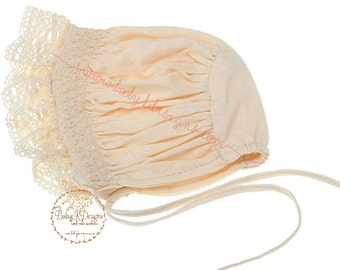 Ivory Baby Bonnet Newborn Baby Girls Vintage Style Hat Crochet Lace Baptism Christening | Infant Cap | Wedding Accessories | Photo Prop