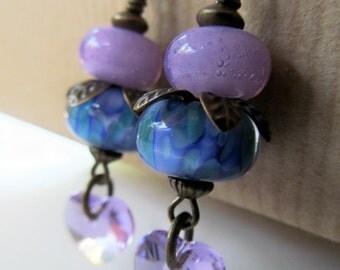 Purple and Blue Lampwork and Crystal Heart Beaded Niobium Earrings
