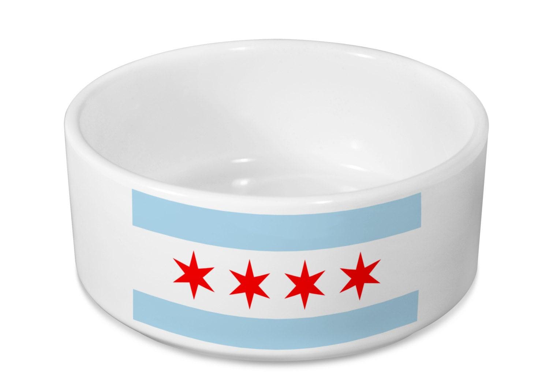 Chicago Flag Dog Bowl Ceramic Dog Bowl Pet Bowl Pet - photo#26