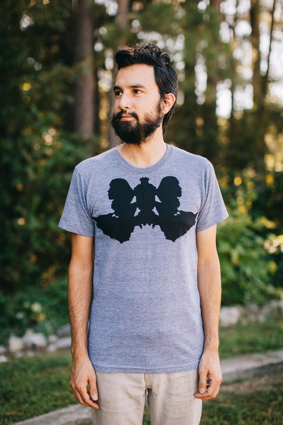 Mens wolf shirt - mens animal shirt, gray wolf t-shirt, fathers day gift, t shirt gift for dad, ink blot Rorschach design - CLOSEOUT