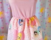 Looney Tunes Bugs Bunny dress, fairy kei pastel heart 90s cartoon size large L