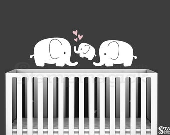 Elephants Wall Decal - Vinyl Wall Decor Graphics Sticker for Baby Nursery - K303