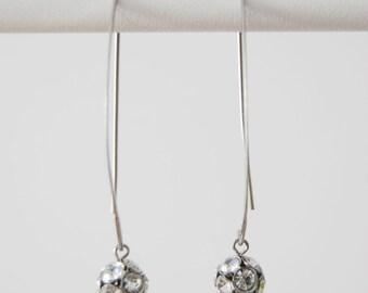 vintage 1970s  / rhinestone / mod earrings / minimalism / silver / space age / crystal earrings / mod wedding