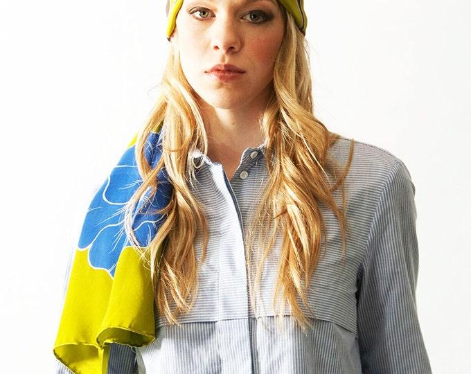 Silk scarf handpainted, Flower scarf, Blue scarf, Green scarf, scarf hand made, Womens silk scarf, Floral scarf, Designer scarf, Batik scarf