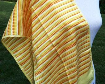Sunny Yellow Orange White Scarf- Dot Stripe Design- Long Oblong Rectangle- Baar & Beards- Acetate Japan 60s 1960s 1970s- Womens Gift Idea