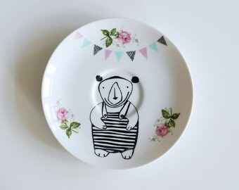 Little bear in a bathing suit and bunting screenprinted small vintage plate
