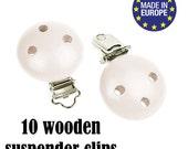 "10 White Wooden Suspender clips DIY 5/8"". certified baby safe wood pacifier clip. baby suspender clips. children safe dummy clip. #293411"
