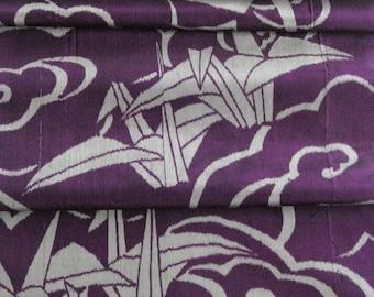 Japanese Kimono Fabric - Large Origami Cranes on Deep Purple - Meisen Silk