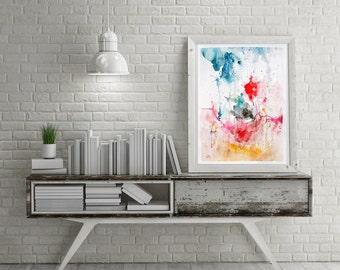Abstract painting, original watercolor, acrylic painting, wall decor, home decor, watercolor painting, wall art , modern painting
