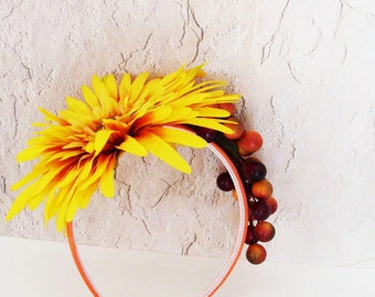Yellow Gold Floral Headband / Autumn Harvest Fashion / Yellow, Orange, Gold, Brown Berries & Flower / Fall Head Piece / OOAK Gift Under 50